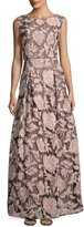 Karl Lagerfeld Floral-Print Lace-Tulle Gown, Black/Pink