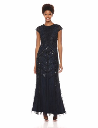 Adrianna Papell Women's Short Sleeve Long Beaded Dress with Round Neckline