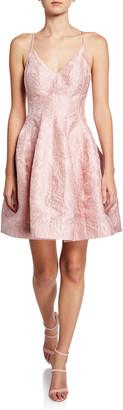 Halston Sleeveless V-Neck Floral Jacquard Tulip-Skirt Dress