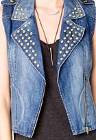 Forever 21 Studded Denim Moto Vest
