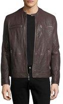 John Varvatos Leather Racer Jacket With An