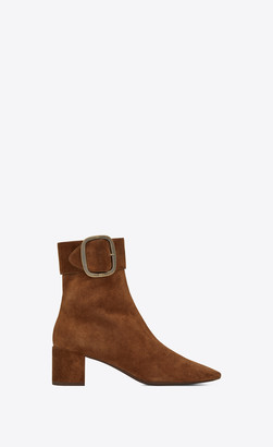 Saint Laurent Heel Booties Joplin Buckle Booties In Suede Toffee 2