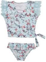 Seafolly Girls Toddler Blue Birds Garden Short Sleeve Rashie Set