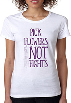 White 'Pick Flowers Not Fights' Tee