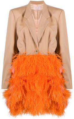 Natasha Zinko Long-Sleeve Feather Coat