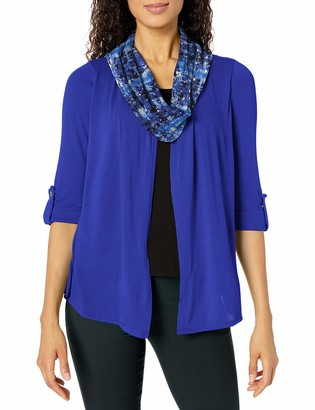 Notations Women's 3/4 Sleeve Cozy Cardigan with Solid Knit Inset and Printed Scarf