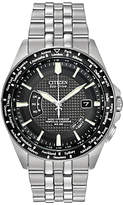 Citizen Cb0020-50e World Perpetual Stainless Steel Bracelet Strap Watch, Silver/black