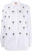 No.21 Crystal-Embellished Buttoned Shirt