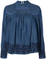 Needle & Thread denim embroidered blouse