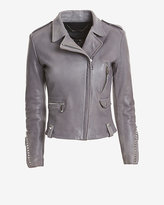 Barbara Bui Exclusive Studded Leather Moto Jacket: Grey