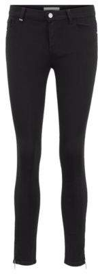 BOSS Skinny-fit black jeans with zipped hems
