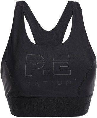 P.E Nation Printed Two-tone Stretch Sports Bra