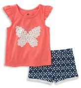 Kids Headquarters Baby Girls Two-Piece Butterfly Top and Shorts Set