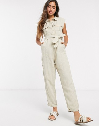 Rip Curl off duty boiler suit in cream