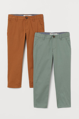 H&M 2-pack Cotton Chinos - Green