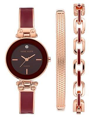 Anne Klein Women's Genuine Diamond Dial Rose Gold-Tone and Burgundy Bangle Watch with Bracelet Set