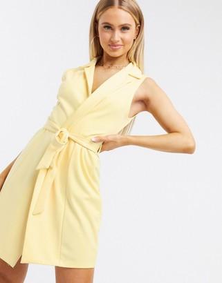 Flounce London Club sleeveless tie waist blazer dress in yellow