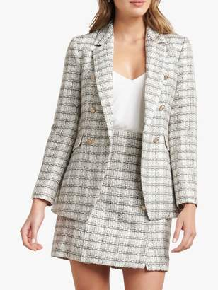 Forever New Boucle Check Tailored Jacket, Cream/Multi