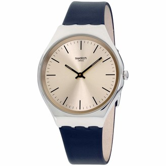 Swatch Men's Stainless Steel Quartz Watch with Leather Strap