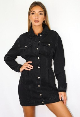 Missguided Black Cinched Waist Denim Jacket Dress
