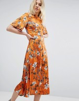 Asos Kimono Sleeve Midi Dress in Painted Floral
