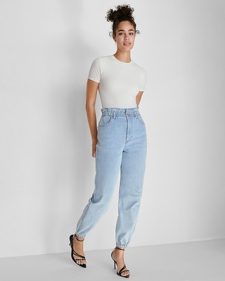 Express Super High Waisted Knit Paperbag Jogger Jeans