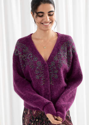 And other stories Embellished Wool Blend Cardigan