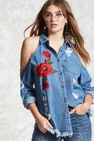 Forever 21 Denim Floral Applique Shirt