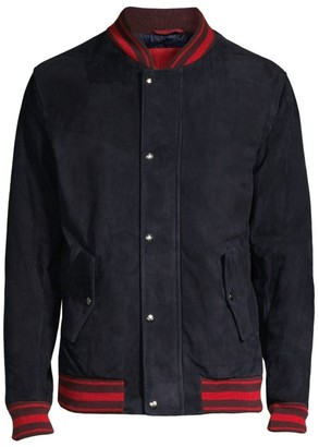 Isaia Striped Rib-Knit Trim Suede Bomber Jacket