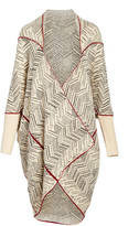 Max Sport Women's Cardigans Cream/Black/Burgundy - Cream & Burgundy Chevron Drape-Front Open Cardigan - Women