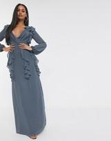TFNC long sleeve v neck maxi dress