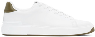 Balmain White and Green B-Court Sneakers