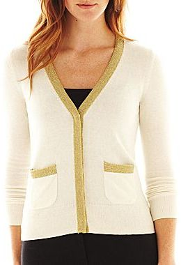 Liz Claiborne Long-Sleeve V-Neck Cardigan Sweater