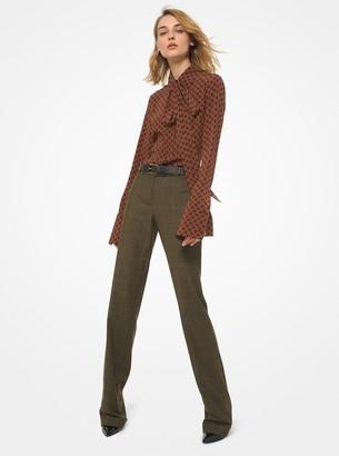 Kate Glen Plaid Wool Flannel Cuffed Trousers