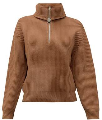 Acne Studios Kelanie Zipped Roll-neck Wool-blend Sweater - Womens - Light Brown