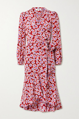 Diane von Furstenberg Carla Two Asymmetric Floral-print Silk Crepe De Chine Wrap Dress - Crimson