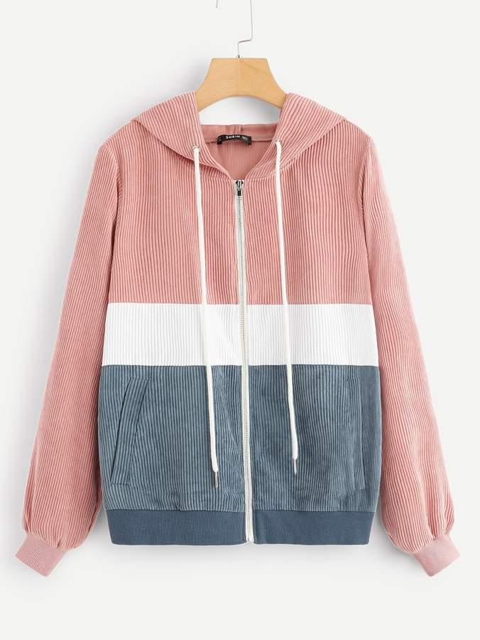 Shein Colorblock Zip Front Drawstring Hooded Corduroy Jacket