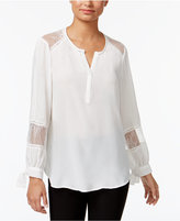 Fever Lace-Trim Tie-Cuff Blouse