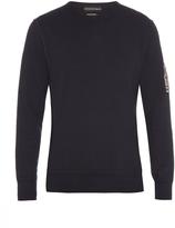 Alexander McQueen Appliqué-sleeve crew-neck cotton sweatshirt