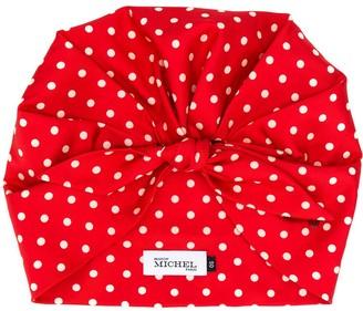 Maison Michel Cindy polka-dot silk turban