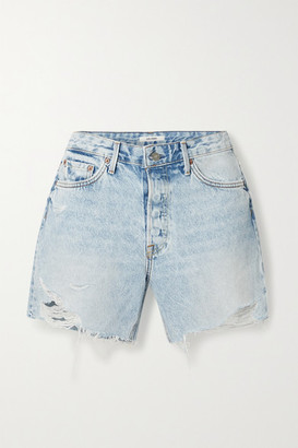 GRLFRND Jourdan Distressed Denim Shorts - Light denim