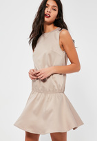 Missguided Petite Exclusive Nude Peplum Dress