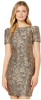 Lauren Ralph Lauren Metallic Jacquard Dress (Gold Multi) Women's Clothing