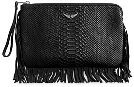 Zadig & Voltaire Uma Fringes Savage Leather Zv Clutch