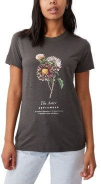 Cotton On Women's Classic Birthday Flower Graphic T-shirt
