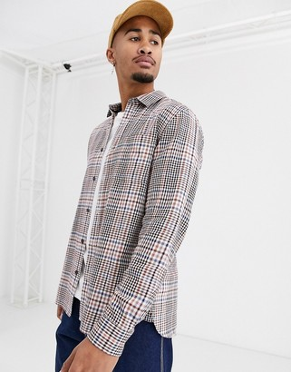 Topman brushed shirt in stone check
