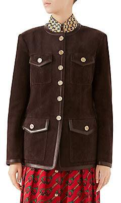 Gucci Women's Suede Hunting Jacket with Buttons