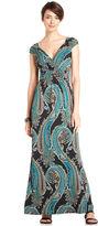 NY Collection Dress, Cap-Sleeve Paisley-Print Maxi