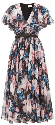 Erdem Garland Dusk Bouquet-print Silk-chiffon Dress - Black Pink