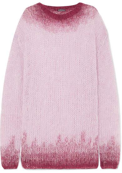 Ann Demeulemeester Oversized Dégradé Mohair-blend Sweater - Pink